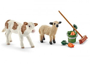 SC41422 Schleich – Stable Cleaning Kit With Calf
