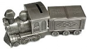Pewter Mini Train Tooth & Curl Carriage Money Bank