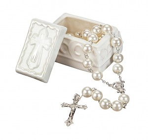 Trinket Box with Rosary Beads