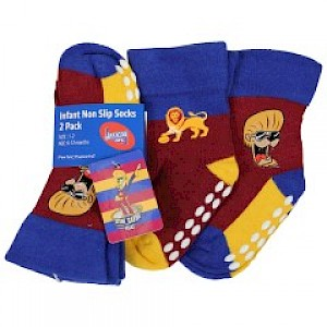 Brisbane Lions Infant 2pk Non Slip Crew Socks - 0-6mths