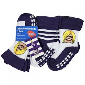 Fremantle Dockers Infant 2pk Non Slip Crew Socks - 0-6mths