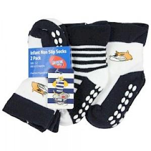 Geelong Cats Infant 2pk Non Slip Crew Socks - 0-6mths