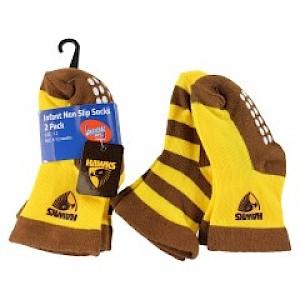 Hawthorn Hawks Infant 2pk Non Slip Crew Socks - 0-6mths