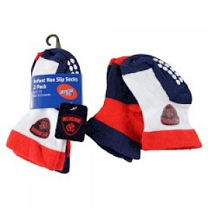 Melbourne Demons Infant 2pk Non Slip Crew Socks - 0-6mths