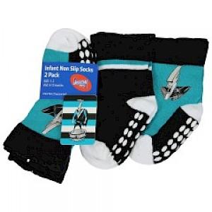 Port Adelaide Power Infant 2pk Non Slip Crew Socks - 0-6mths