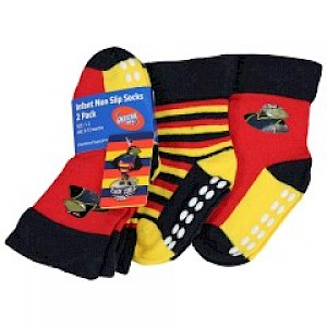 Adelaide Crows Infant 2pk Non Slip Crew Socks - 0-6mths