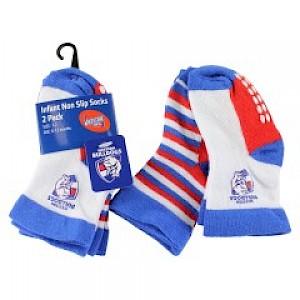 Western Bulldogs Infant 2pk Non Slip Crew Socks - 0-6mths