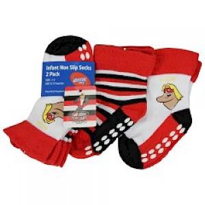 St Kilda Saints Infant 2pk Non Slip Crew Socks - 0-6mths