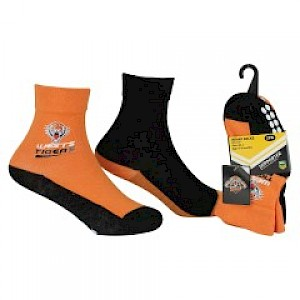 Wests Tigers Infant 2pk Non Slip Crew Socks - 0-6mths
