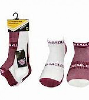 Manly Warringah Sea Eagles 2PK Ankle Socks - Size 2-8