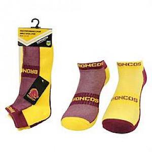 Brisbane Broncos 2PK Ankle Socks - Size 7-11