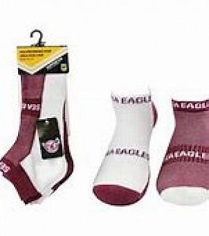 Manly Warringah Sea Eagles 2PK Ankle Socks - Size 7-11