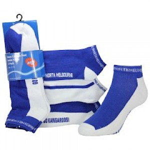 North Melbourne Kangaroos 3pk Ankle Socks - Size 2-8