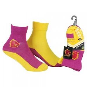 Brisbane Broncos Infant 2pk Non Slip Crew Socks - 6-12mths