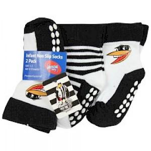 Collingwood Magpies Infant 2pk Non Slip Crew Socks - 6-12mths