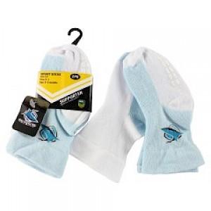 Cronulla-Sutherland Sharks Infant 2pk Non Slip Crew Socks - 6-12mths
