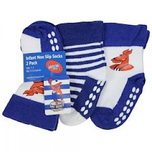 North Melbourne Kangaroos Infant 2pk Non Slip Crew Socks - 6-12mths
