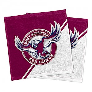 Manly Warringah Sea Eagles Set of 2 Face Washers