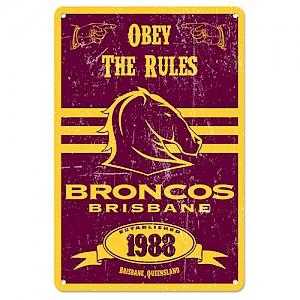 Brisbane Broncos Retro Metal Sign