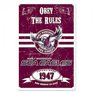 Manly Warringah Sea Eagles Retro Metal Sign