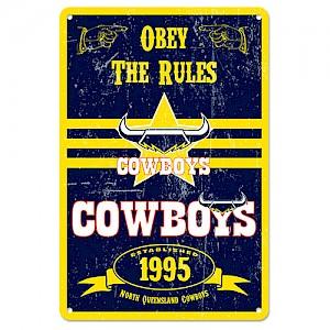 North Queensland Cowboys Retro Metal Sign