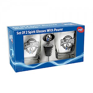 Collingwood Magpies Set of 2 Spirit Glasses with Pourer