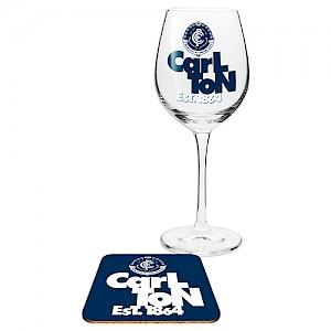 Carlton Blues Wine Glass and Coaster