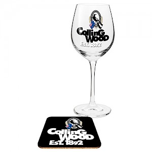Collingwood Magpies Wine Glass and Coaster