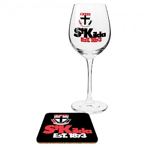 St Kilda Saints Wine Glass and Coaster