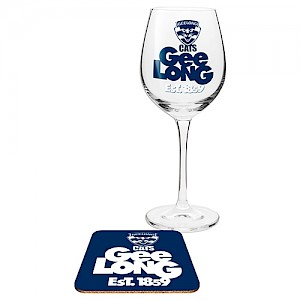Geelong Cats Wine Glass and Coaster