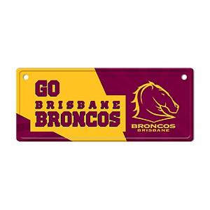 Brisbane Broncos Tin License Plate Sign