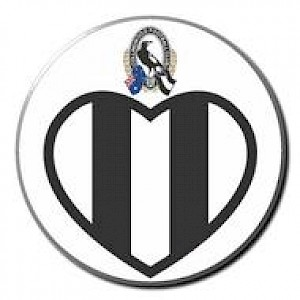 Collingwood Magpies Supporter Badge - Love Heart