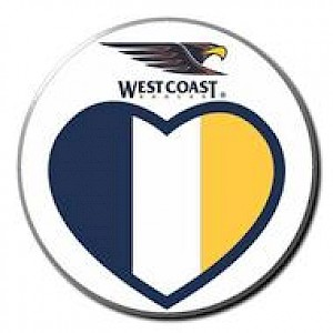 West Coast Eagles Supporter Badge - Love Heart