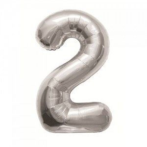 "34"" Number 2 Foil Balloon - Silver"