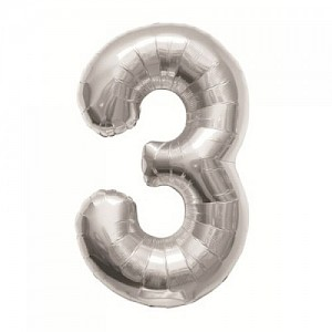 "34"" Number 3 Foil Balloon - Silver"