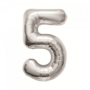 "34"" Number 5 Foil Balloon - Silver"