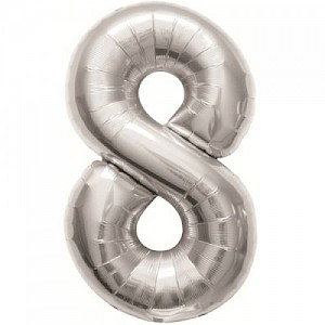 "34"" Number 8 Foil Balloon - Silver"