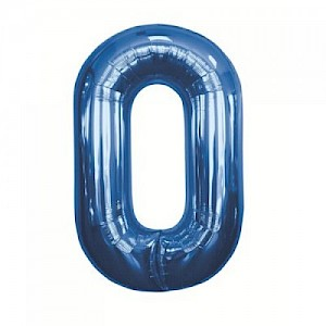 "34"" Number 0 Foil Balloon -Blue"