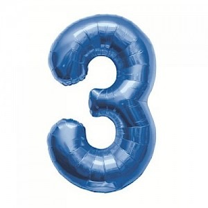 "34"" Number 3 Foil Balloon - Blue"