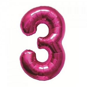 "34"" Number 3 Foil Balloon Arrangement - Pink"