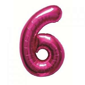 "34"" Number 6 Foil Balloon Arrangement - Pink"