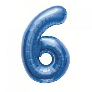"34"" Number 6 Foil Balloon Arrangement - Blue"