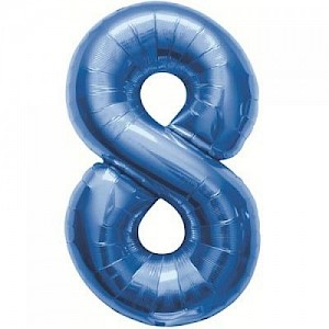 "34"" Number 8 Foil Balloon Arrangement - Blue"