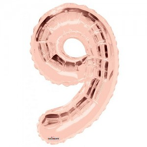 "34"" Number 9 Foil Balloon Arrangement - Rose Gold"