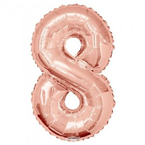 "34"" Number 8 Foil Balloon Arrangement - Rose Gold"