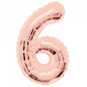"34"" Number 6 Foil Balloon Arrangement - Rose Gold"