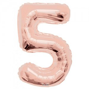 "34"" Number 5 Foil Balloon Arrangement - Rose Gold"