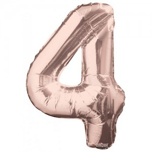 "34"" Number 4 Foil Balloon Arrangement - Rose Gold"
