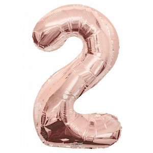 "34"" Number 2 Foil Balloon Arrangement - Rose Gold"