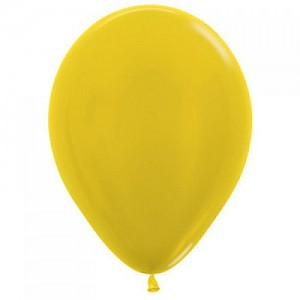 Metallic Yellow 30cm Latex Balloon & Helium